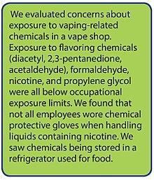 Faits saillants des préoccupations d'un rapport du ministère de la Santé américain sur l'exposition aux produits chimiques liés à la vapeur dans une entreprise de fabrication de vapeur en 2017.