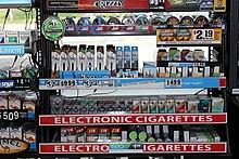 E-cigarettes à une station d'essence.