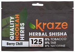 Kraze Shisha Mélasse à base de plantes Shisha sans tabac, 125g (Berry Chill)
