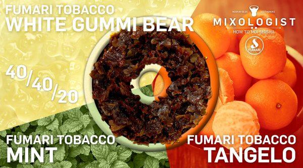 Fumari Tobacco Shisha Mix Shisha - Ours gommeux blancs Fumari, Fumari Mint et Fumari Tangelo Shisha Shisha