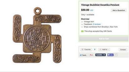 Pendentif bouddhiste vintage en forme de croix gammée